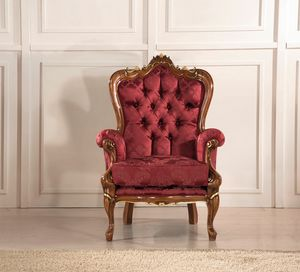 Rex armchair, Armchair with decorative carvings