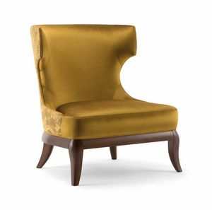 ROSE LOUNGE CHAIR 066 P, Armchair with enveloping high backrest