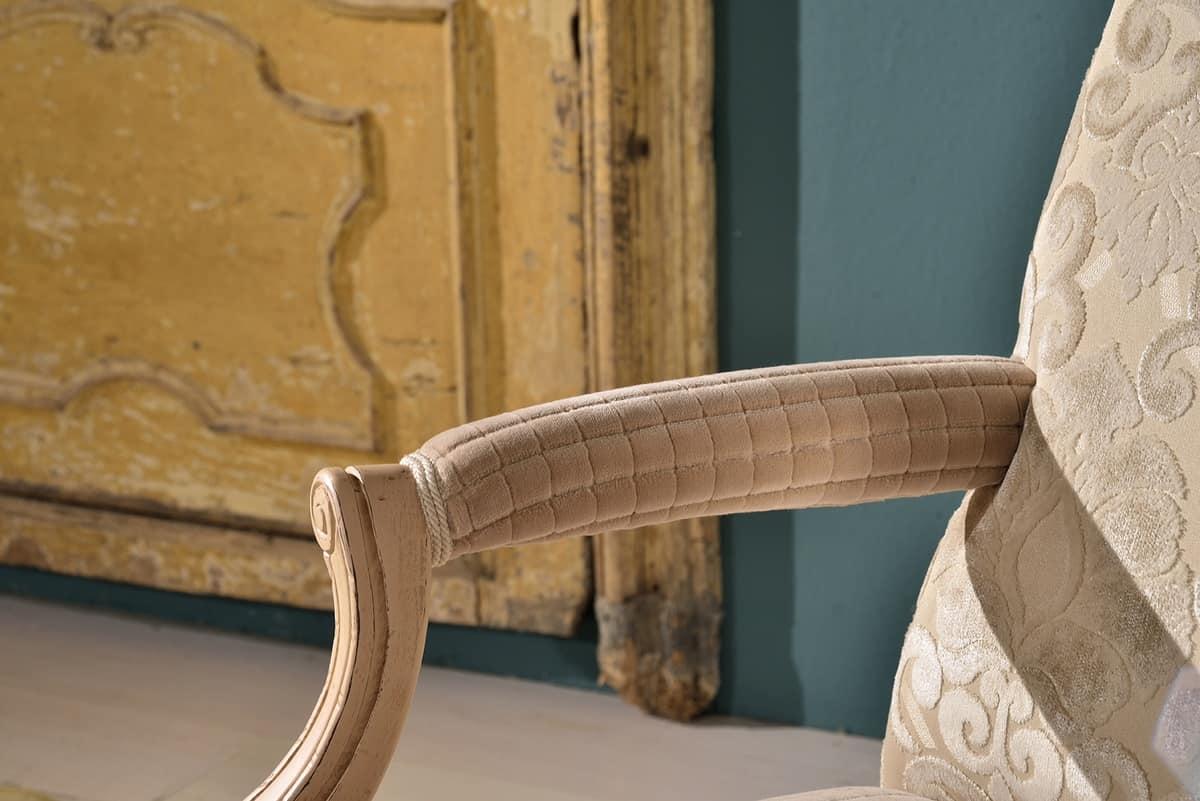STRADIVARI armchair 8261A, Enveloping luxury armchair, in beech, for hotel lobby