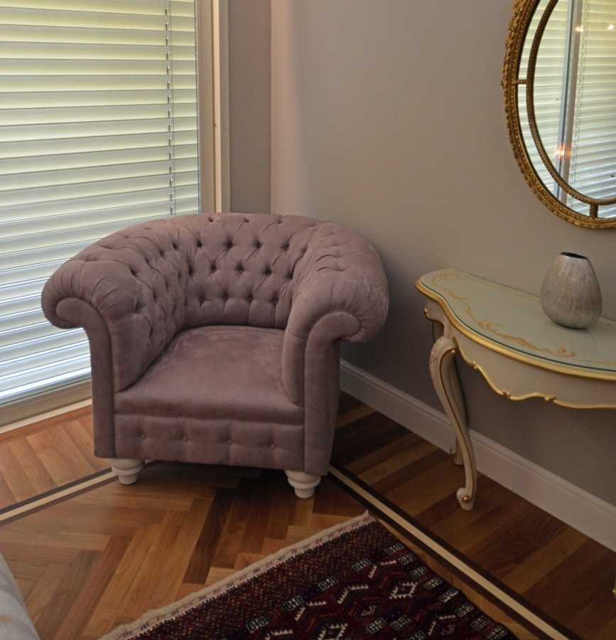 Swing fabric, Chesterfield armchairs with gull-wing armrests
