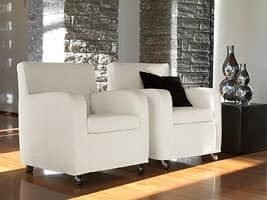 Teodora, Armchair with steel wheels, for stylish living room
