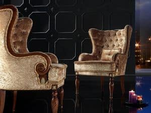 VALERIA armchair 8495A, Classic armchair, back quilted, for luxurious residence