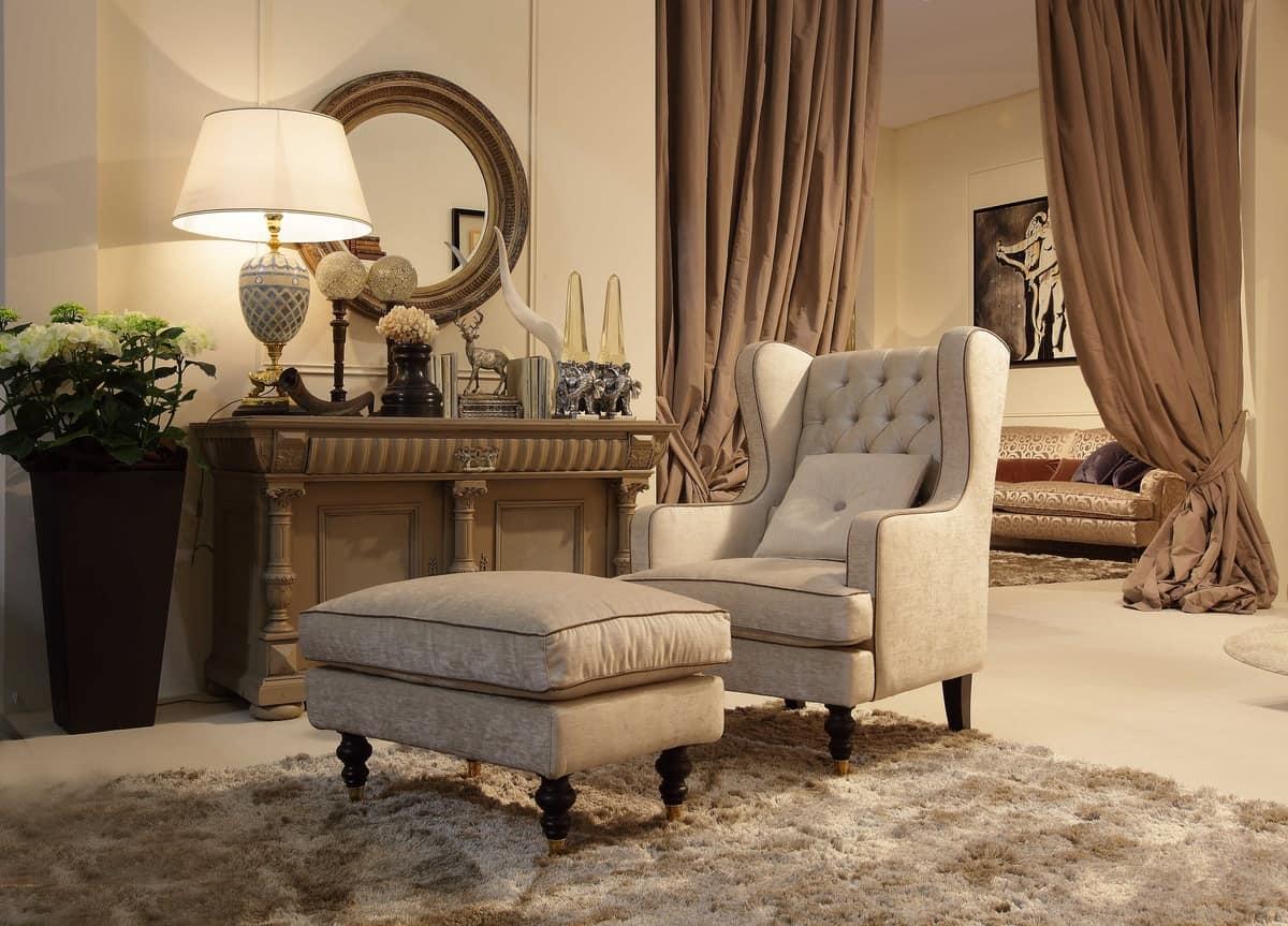 Venere armchair, Chair with ottoman, tufted backrest