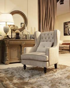 Venere armchair, Chair with ottoman, tufted backrest