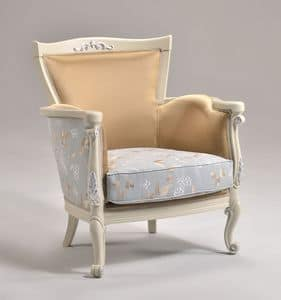 VENEZIA armchair 8294A, Classic style armchair with finishing in silver leaf