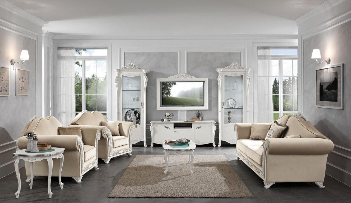 Viola armchair, Elegant armchair with precious floral carvings