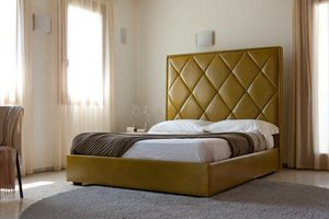 ALEX, Bed with padded rhombus headboard
