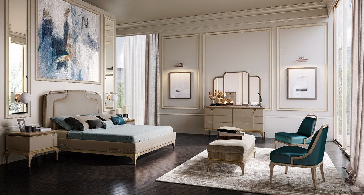 Alexander Art. A70, Bed with headboard covered in leather