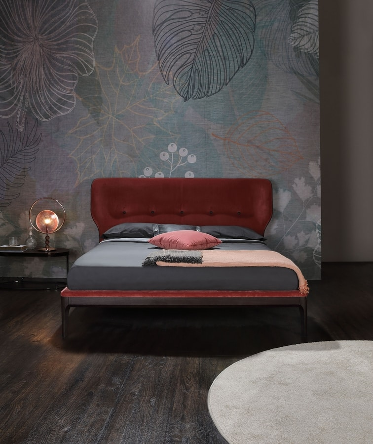 AMBRA, Bed with wraparound upholstered headboard