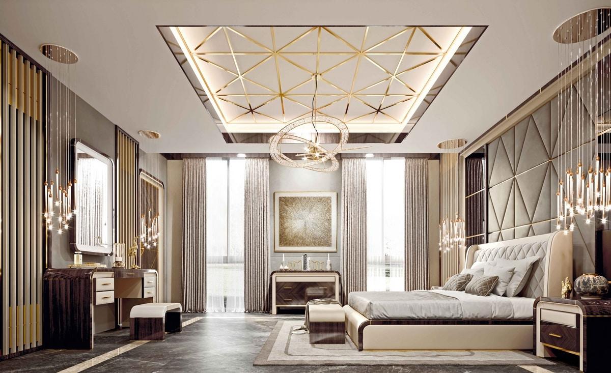 ART. 3370, Leather bed, eucalyptus finish structure