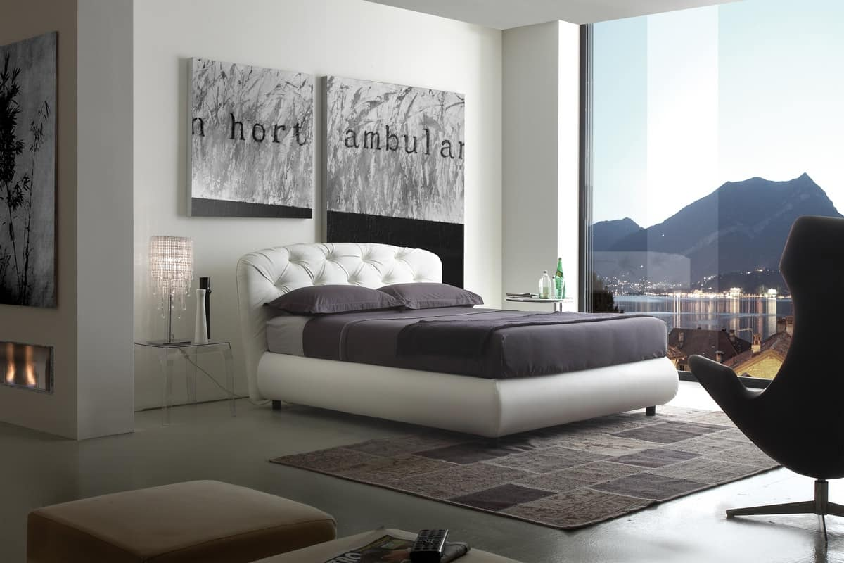 Art. 404 Pashà, Upholstered bed with capitonné headboard