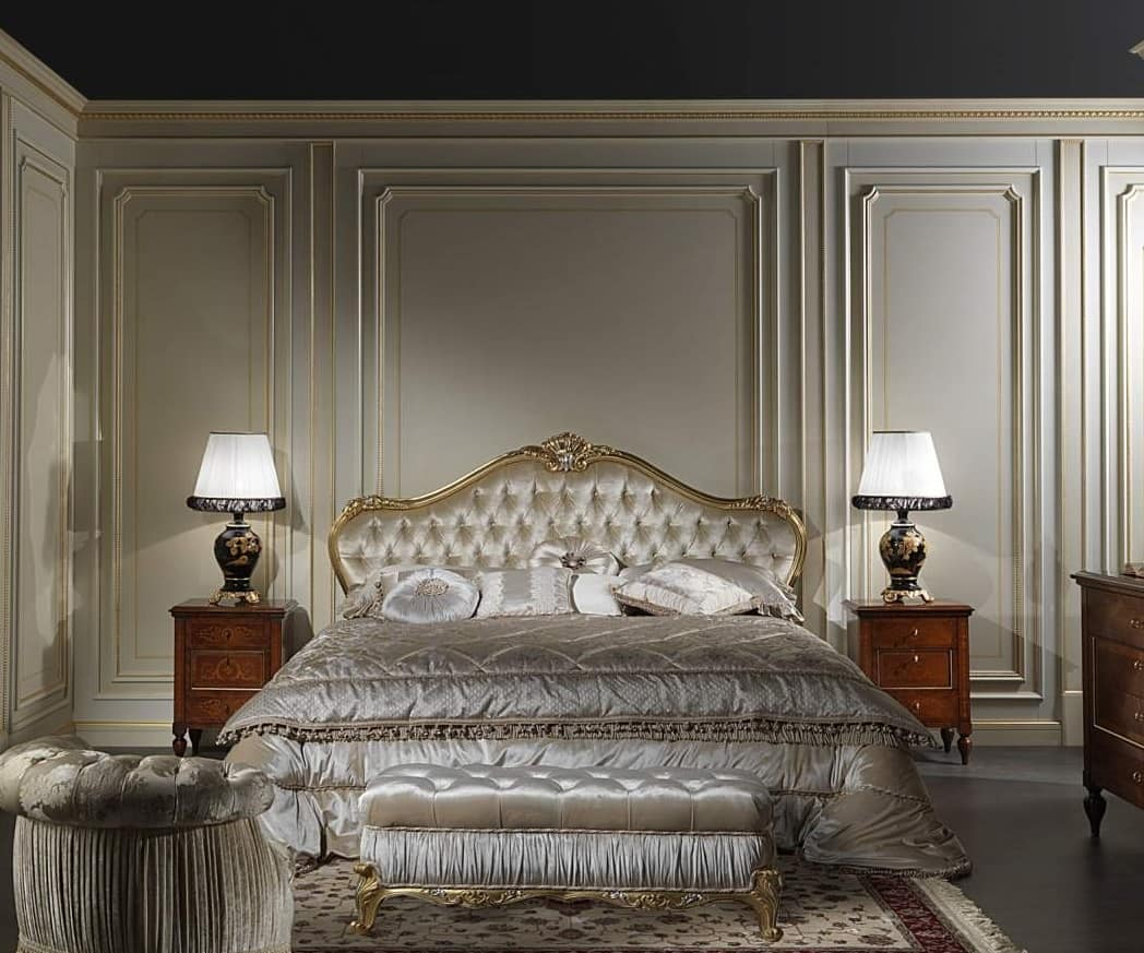 Art. 925 Bed Maggiolini, Maggiolini classic style bed, with padded headboard