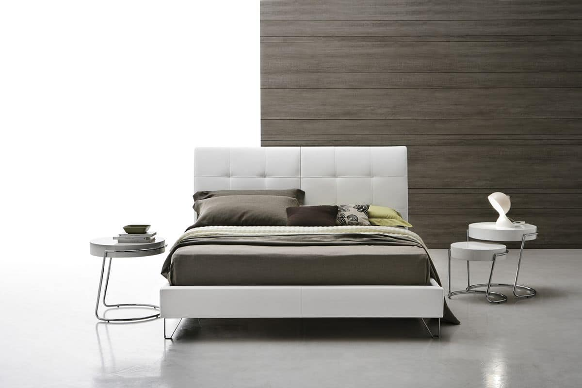 ASOLO BD417, Double bed with quilted headboard, handcrafted