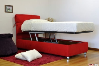 Azzurra, Modern bed with completely removable soft headboard