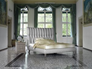 Ca' Venier Art. CV15/D, Upholstered bed with rounded shapes