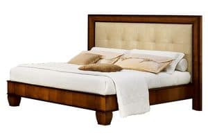 Cappella CH.0501, Walnut wooden bed, with headboard in eco leather