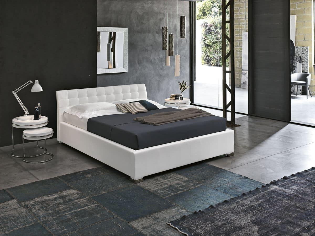 CHAMONIX BD427, Modern bed with upholstered headboard, soft-touch