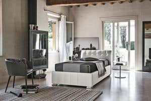 CHAMONIX SB427, Single bed upholstered in soft-touch, with headboard