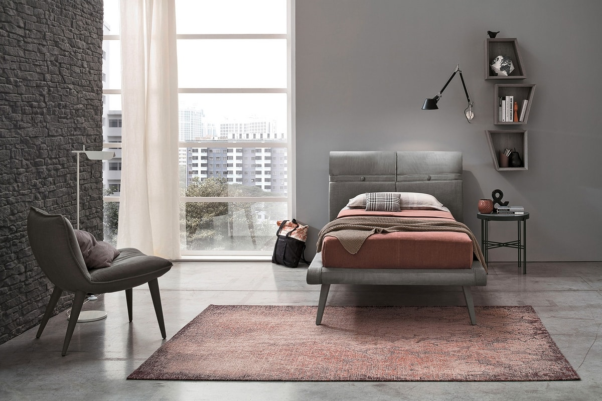 CORFÙ SB463, Single bed with upholstered headboard
