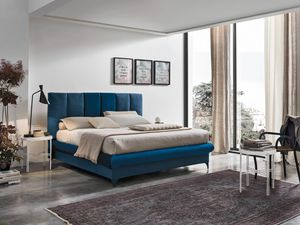 CRETA BD461, Bed with headboard made with vertical cushions
