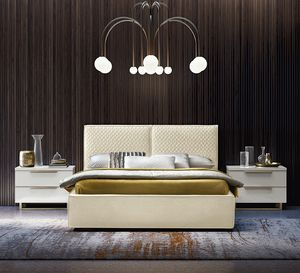 Cubo quilted bed, Bed with quilted headboard