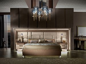 Diamond bed with fitted wall, Bed with large headboard