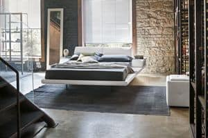 ELBA BD444, Double bed with buit-in upholstered bedside table
