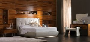 Elettra Art. EL015A/T, Upholstered bed, covered in leather