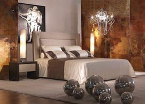 Enea, Bed with upholstered headboard, that can be decorated with floral elements