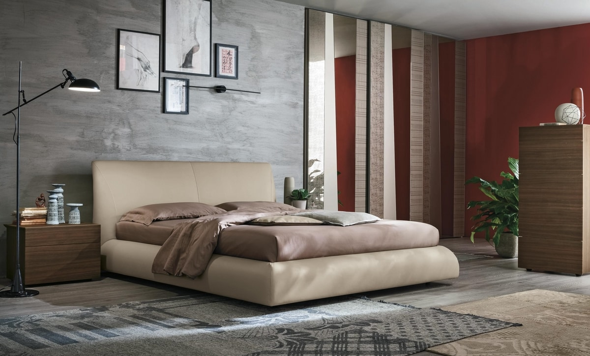 Eros, Upholstered bed with a rounded shape