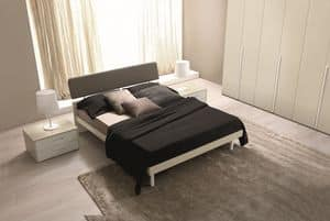 Felix, Bed with headboard in two materials, for modern hotel