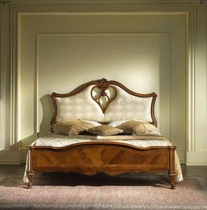 G 705, Bed with upholstered headboard and hole in heart shape