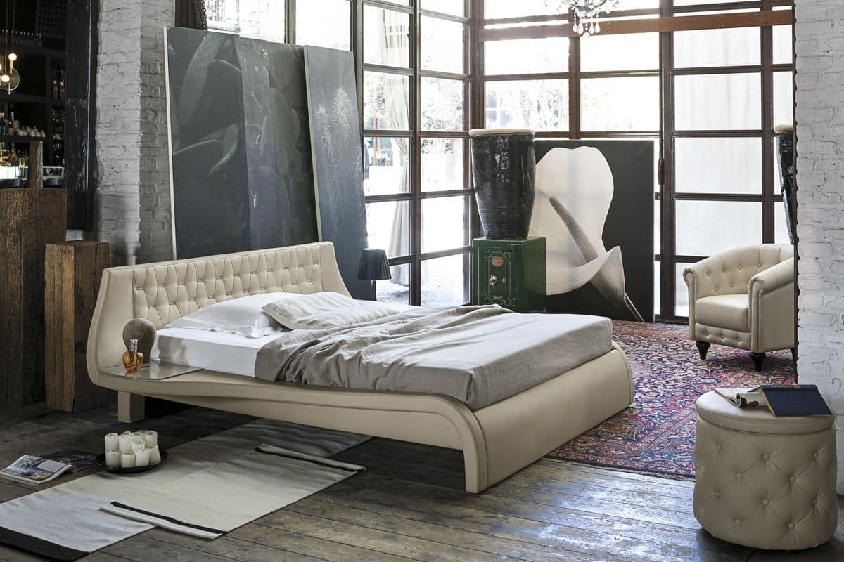 GIGLIO BD443, Double bed with upholstered headboard for bedrooms