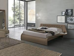 GIGLIO KB443, King-size bed upholstered in soft-touch, with headboard