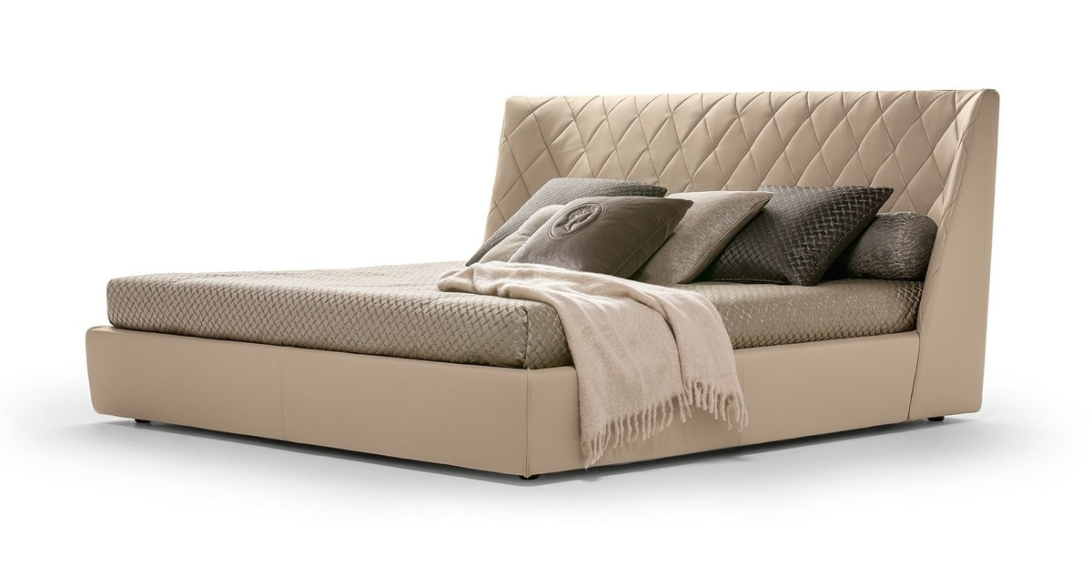 Grace, Upholstered bed, with enveloping headboard