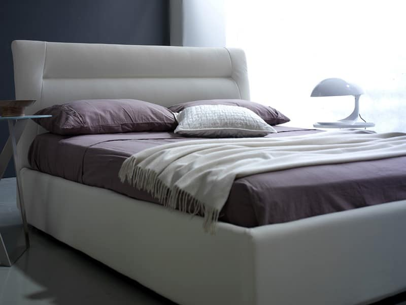 Grace double bed, Bed with box, leather covering