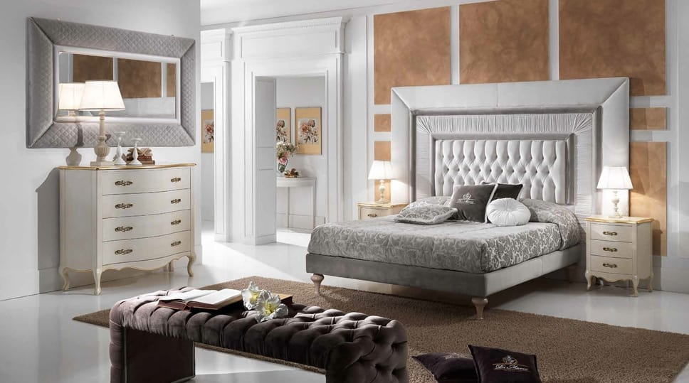 GRECALE capitonné bed, Classic bed with a large tufted headboard