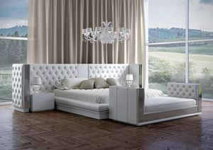 Impero bed, Bed with a luxurious tufted headboard