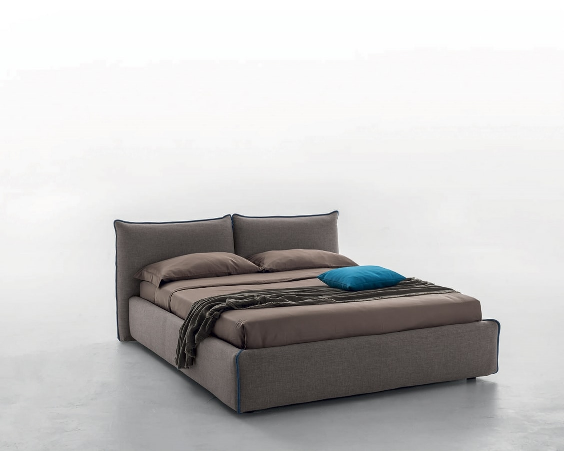 JOY, Bed  with leather, eco-leather or fabric cover