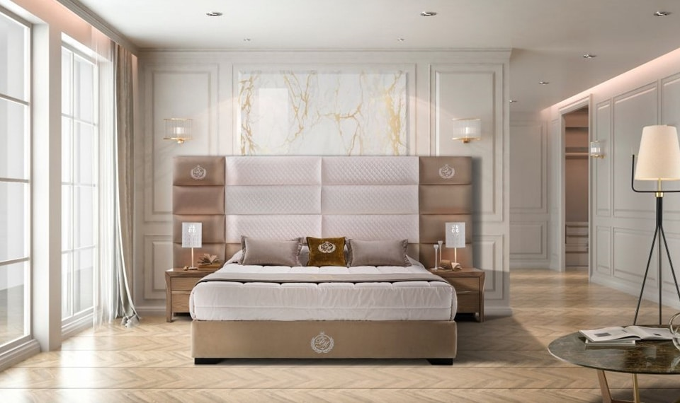 KLEI bed, Bed with upholstered headboard