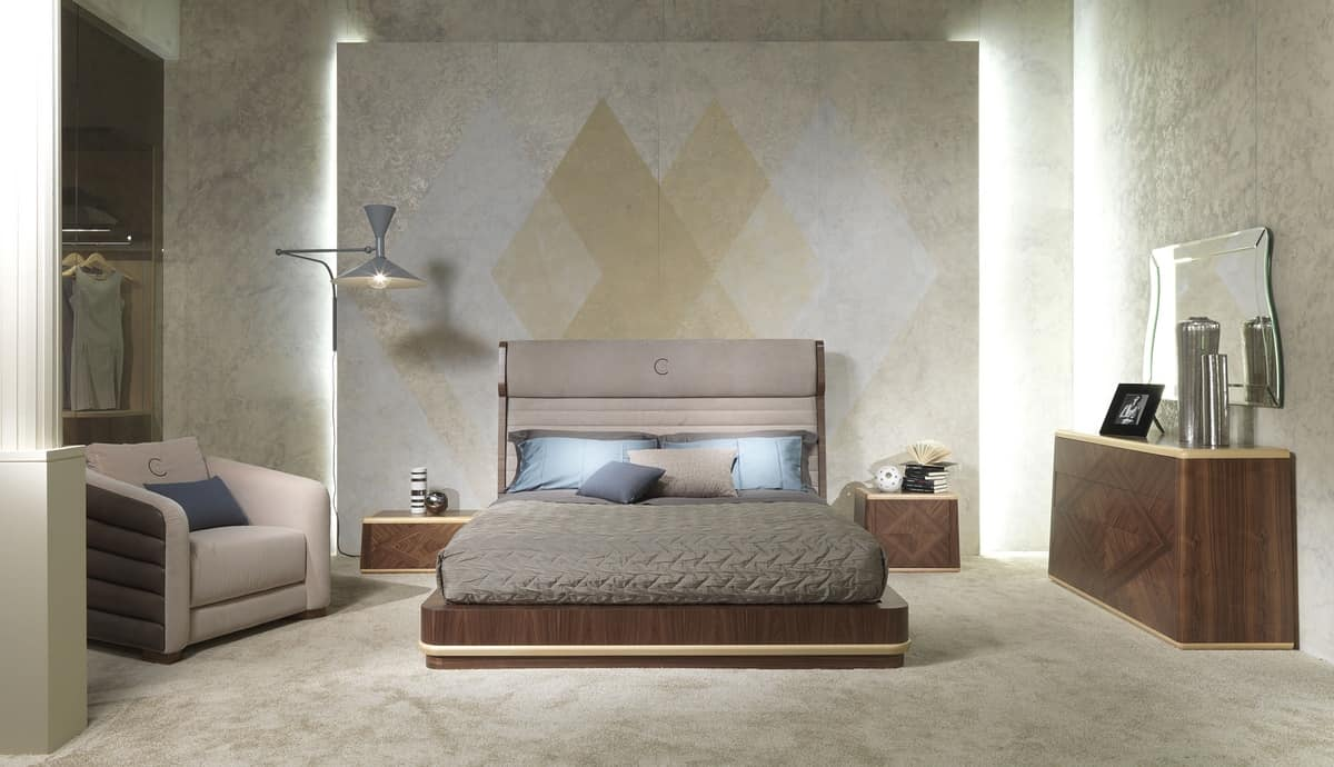 LE26 Galileo bed, Double bed, upholstered headboard, for bedrooms