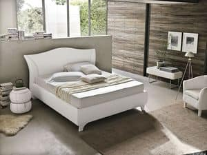 MADDALENA BD438, Contemporary double bed with padded curved headboard