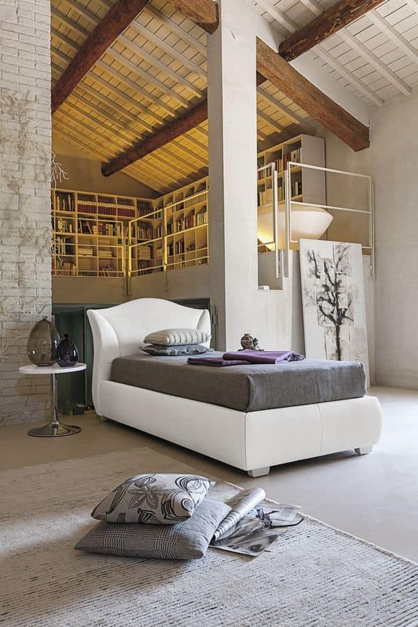 MADDALENA SB438, Single bed, with a shaped padded headboard