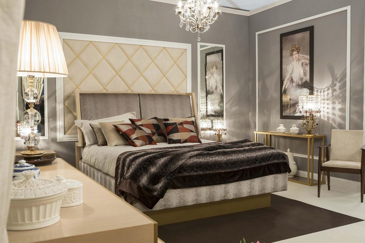 Miami bed, Elegant bed with upholstered headboard