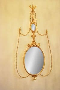 MIRROR ART. CR 0043, Oval mirror in carved wood for luxury hotels