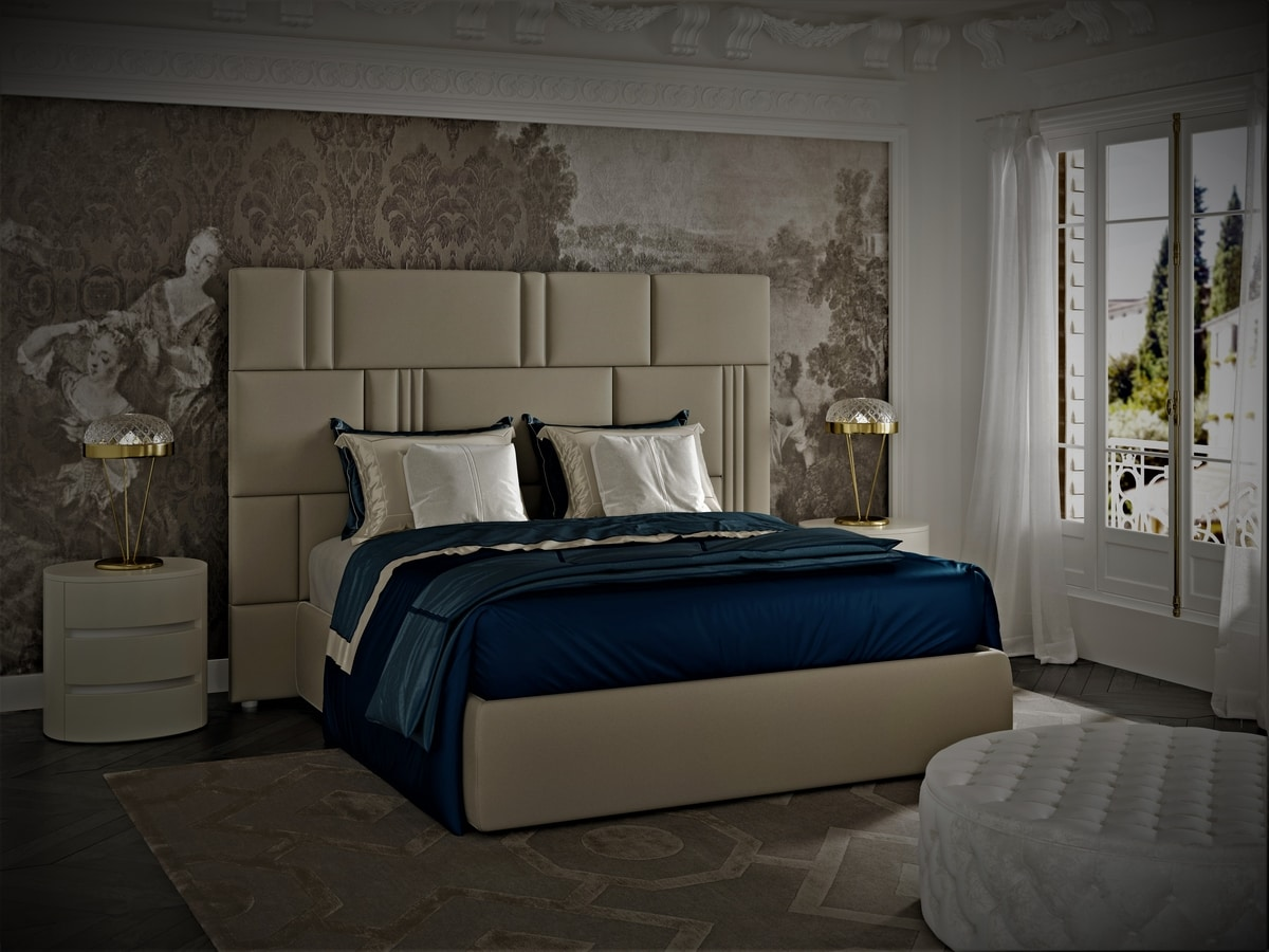 Myfair bed, Bed covered in leather, turtledove grey finish