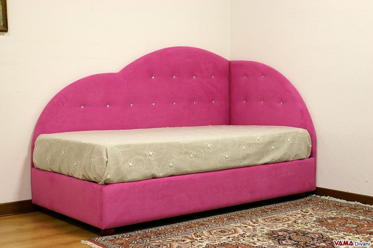 Nuvola, Padded bed for little girls with two heads and Swarovski buttons