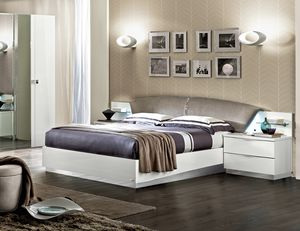 Onda bed drop, Bed with backlit padded headboard