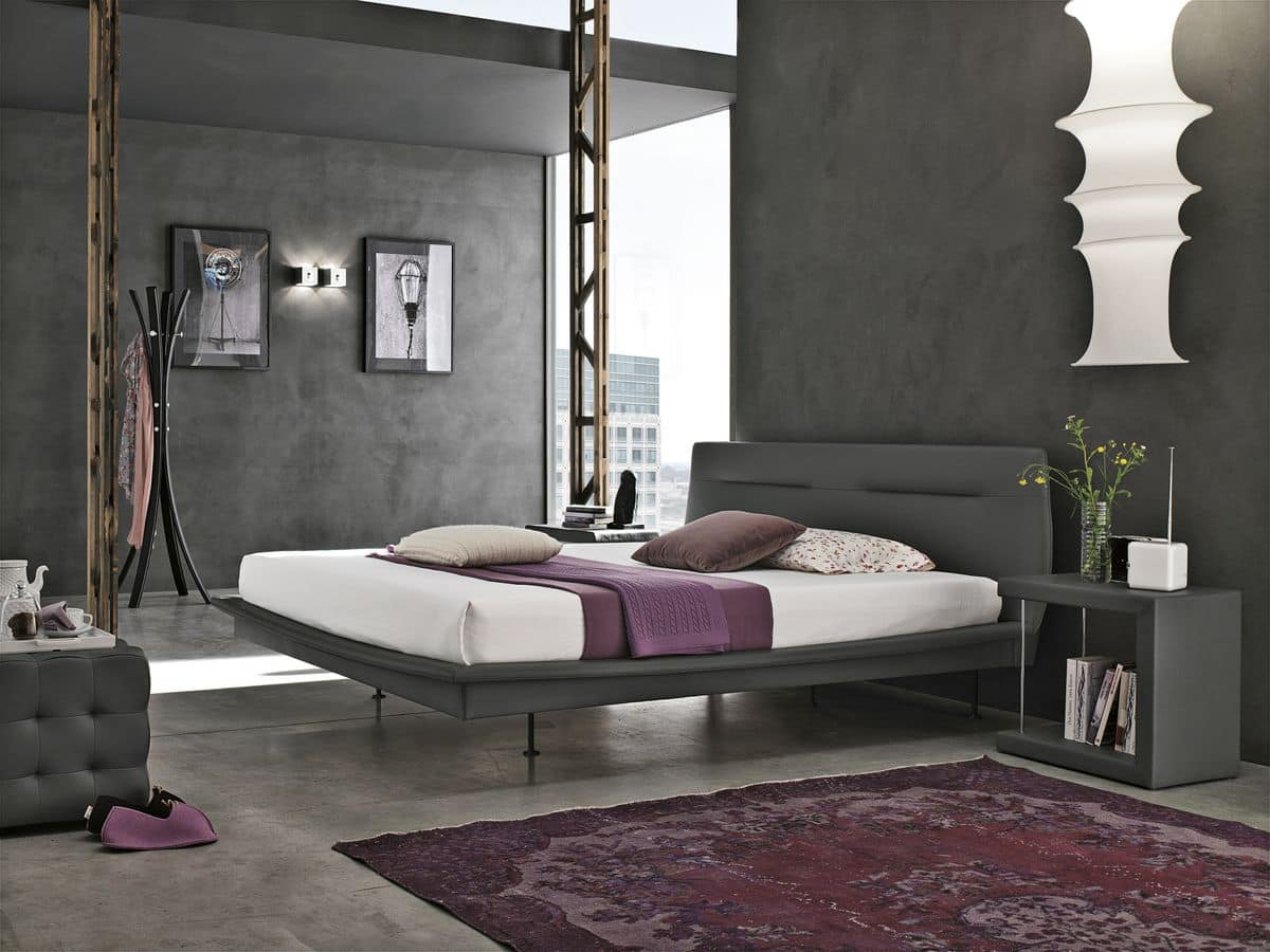 PANAREA BD445, Double bed with upholstered headboard ideal for modern bedrooms