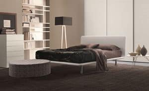 Paris, Bed in faux leather with curved top, for bedrooms